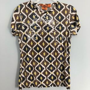 Tory Burch Clear Sequined Ikat Top